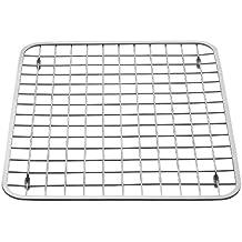 InterDesign Gia Kitchen Sink Protector - Wire Grid Mat, Sink Strainer – Regular, Polished