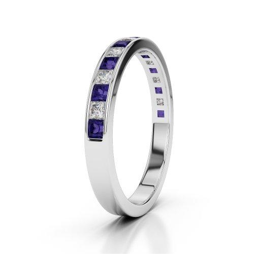 Or blanc 18carats 0,51CT G-H/VS Certifié Coupe ronde tanzanite et diamants Agdr-1135