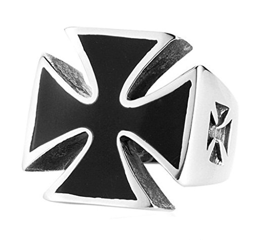 Xiangling Jewelry Stainless Steel Men's Silver Black Maltese Cross Rings for Men, Size 12 Maltese Cross Mens Ring