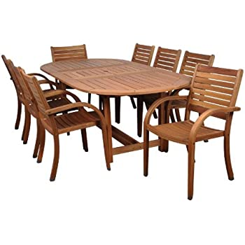 Amazonia Arizona 9 Piece Eucalyptus Oval Dining Set