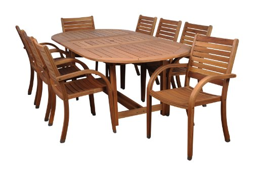Amazonia Arizona 9 Piece Oval Outdoor Dining Set Eucalyptus Wood | Durable and Ideal for Patio and Backyard, Light Brown - DIMENSIONS: This set includes 1 Oval Extendable Table 71L x 43W x 29H.  with an extended length of 93.8. Stacking Armchairs 23W x23D x 36H. VERSATILE DINING SET: 9-Piece patio Dining  set perfect for outdoors and indoors. Ideal for patios, gardens, terraces and poolside. Chairs are completely stackable and Table has a 2-inch umbrella hole for a great functionality EASY ASSEMBLY AND MANTENANCE: Chairs are shipped completely assembled while table require some assembly actions. Product includes a complete maintenance kit for FREE.  This kit includes: a wood cleaner, brush, gloves, sponge, emery paper, paint brush, Cotton cloth, and wood sealer oil. Improve furniture performance using kit maintenance every summer season or as often as desired - patio-furniture, dining-sets-patio-funiture, patio - 41c MBdcP4L -