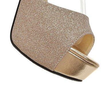 LvYuan Tacón Robusto-Confort Innovador Zapatos del club-Sandalias-Exterior Vestido Informal-Purpurina Materiales Personalizados-Negro Plata Oro sliver