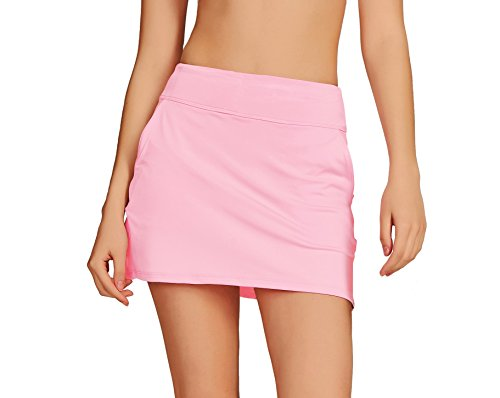 (Cityoung Women's Golf Pleated Flat Skort with Pockets M,Pink )