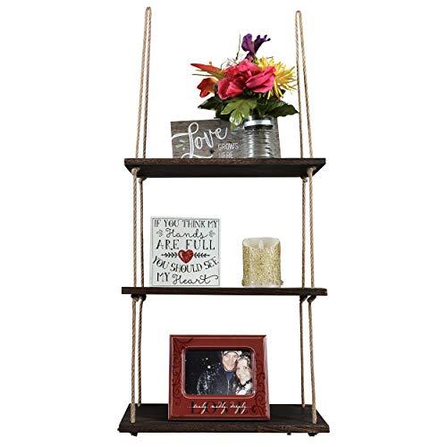 C-leo Wood Hanging Shelf- 3 Tier Jute Rope Floating Organizer Shelves (Cleo Rose)