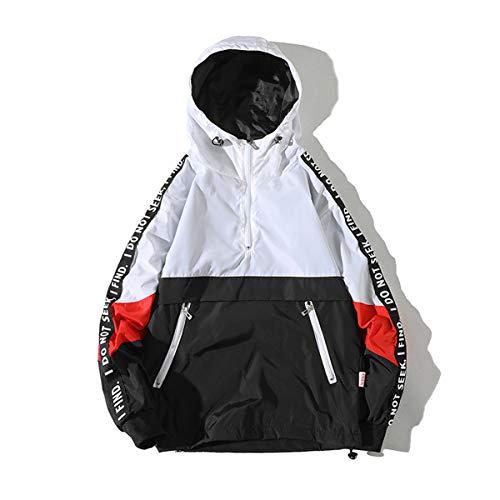 AITFINEISM Men's Fashion Pullover Hooded Waterproof Lightweight Windbreaker Jacket (Large, White) (Pullover Windbreaker Men)