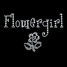 Flower Girl Cute Iron On Rhinestone Crystal T-Shirt Transfer by Jubilee Rhinestones