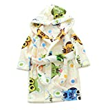 Kimjun Unisex Toddler Baby Bathrobe Kids Hooded Robes Soft Flannel Sleepwear Owl Beige 100