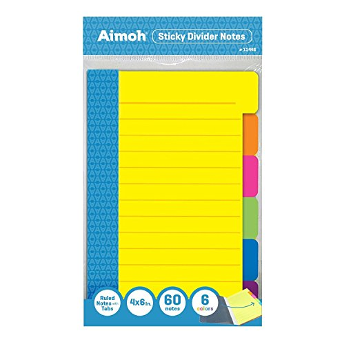 Sticky Divider Notes, Neon Colored, 60 Count - Premium 4 x 6 Self Adhesive Tabbed Markers, 4x6 Ruled Panel, No Residue, For Business and Home Office (11446) Self Adhesive Note Set