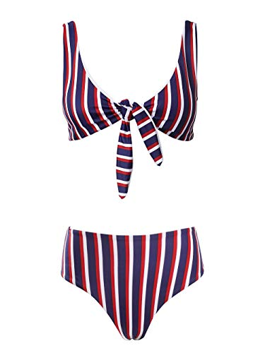 SeaBeauty Womens Bikini Set Sexy Front Tie Knot High Waist Thong Bandage 2 Piece Bikini Set Beachwear (Purple Stripe, Medium)