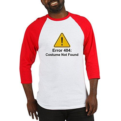 CafePress Error 404 Halloween Costume Not Found Baseball Jer Cotton Baseball Jersey, 3/4 Raglan Sleeve Shirt Red/White -