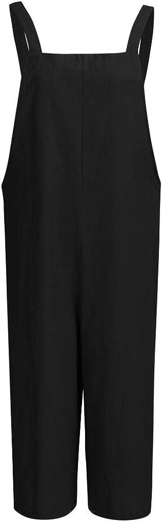 SUCES Mujer Mujer Mujer Peto Casual Lose Lino Pantalones de Verano Largos Bolsillos Diario Entrenamiento Nette Pelele Mono Pantalones sin Mangas Jumpsuit Rompers Verano Traje de pantal/ón