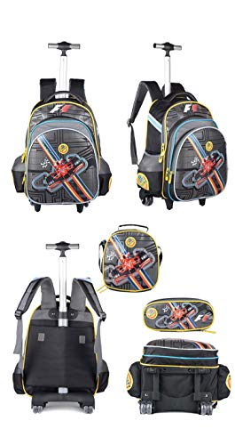 Meetbelify 3Pcs Rolling Backpack for Boys with Lunch Bag Pencil Case School Bags Wheeled Backpack(H16.5