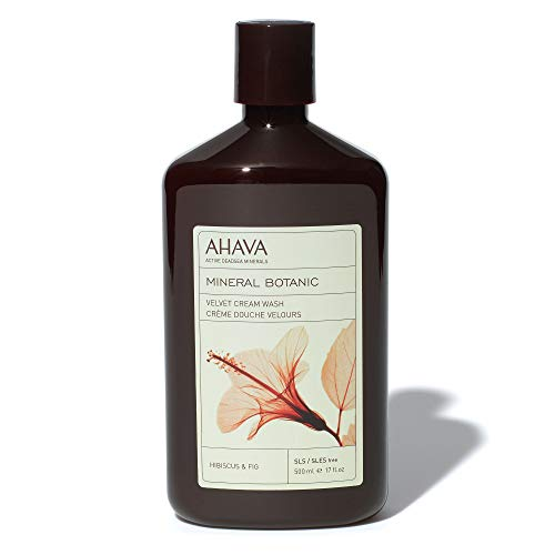 AHAVA Dead Sea Mineral Botanic Velvet Cream Body Wash, Hibiscus & Fig, 17 Oz