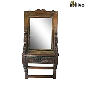 """ARTLIVO 25"""" Vintage Wooden Carved Wall Mirror with Drawer"""
