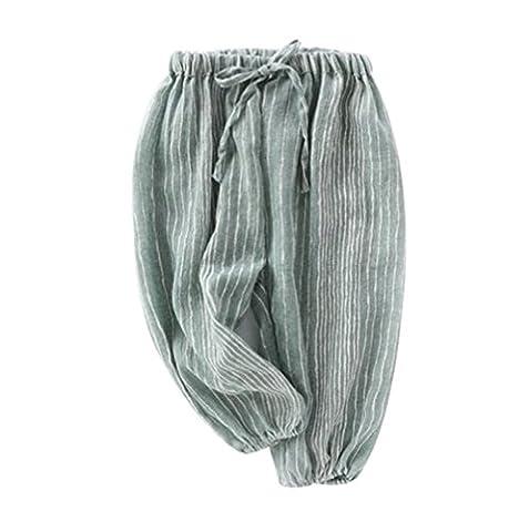 Taiycyxgan Unisex Baby Boys Girls Casual Elastic Pants Harem Pants Summer Stripe Bloomers Green 90
