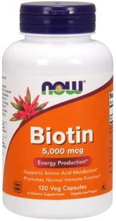NOW Biotin 5,000 mcg - 120 VCaps (Pack of 2 Bottles)