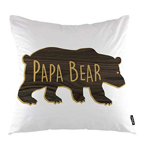 "oFloral Bear Throw Pillow Covers Cushion Cover Wood Grain Papa Bear Letter Happy Fathers Day Decorative Square Pillow Case 18""X18"" Pillowcase Home Decor for Sofa Bedroom Livingroom"