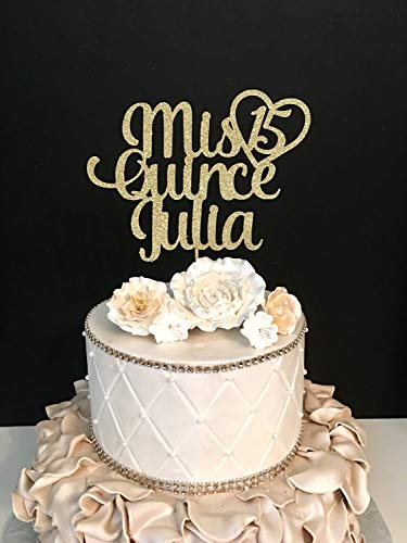 Funlaugh Any Name Glitter Mis Quince Birthday Sweet 15 Glitter 15Th Birthday Quinceneara Birthday Topper Cake Topper for Wedding Anniversary Gifts Wedding Party Favors Cake Toppers]()