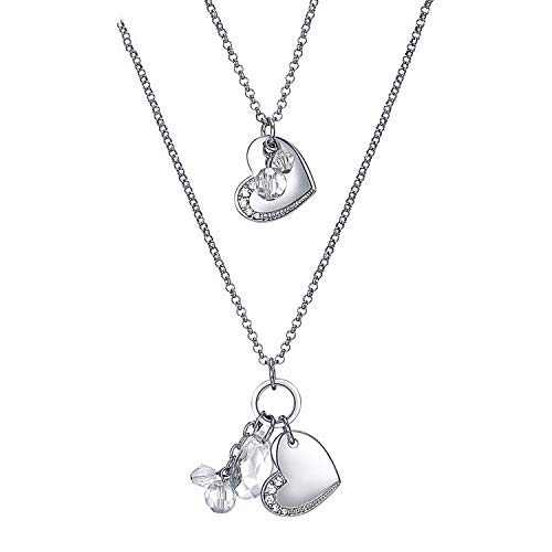 Double Layers Necklace for Women Long Chains Twins Hearts Crystals Pendant Jewelry Imitation Rhodium Plated Clear 120 cm