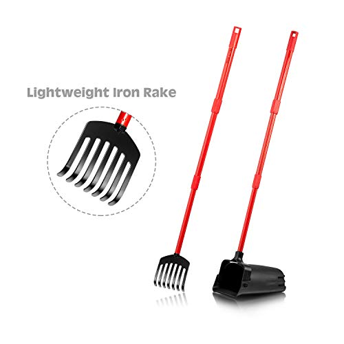 Pikaon Metal Dog Pooper Scooper, Swivel Bin and Heavy Duty Rake with Long Handle, Pet Waste Removal for Large Dog
