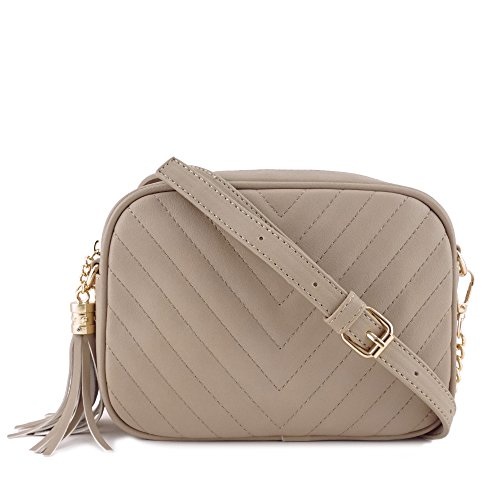 Simple Shoulder Crossbody Bag With Metal Chain Strap And Tassel Top Zipper (Taupe) by 153corp (Image #1)