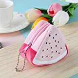 Delicate Fruit Pattern Plush Earphone Card Key Storage Coin Purse Women Wallet (Color - Pink)