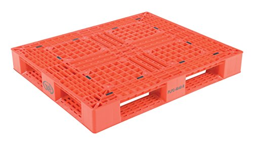Vestil PLP2-4840-RED Red Polyethylene Pallet with 4 Way Entry, 6600 lbs Capacity, 39.5