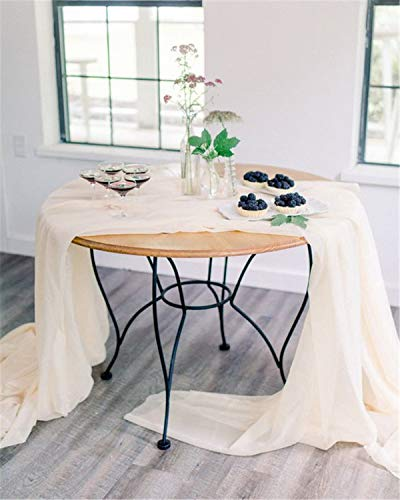 - QueenDream 2 Pieces 27 x 120 Inches Ivory Sheer Chiffon Table Runner for Bridal Shower Bachelorette Party Baby Girl Shower Girl's Sweet 16 Birthday