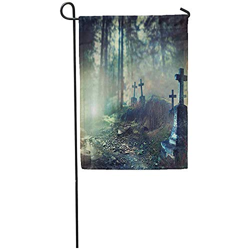 Staromia Garden Flag 12x18 Inches Print On Two Side Polyester Halloween Foggy Graveyard at Night Old Spooky Cemetery in Moonlight Through The Home Yard Farm Fade Resistant Outdoor House Decor -