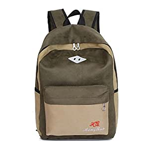 Men and women Backpack Unisex Middle School Students Shoulders Bag Travelling Bag (Army Green)