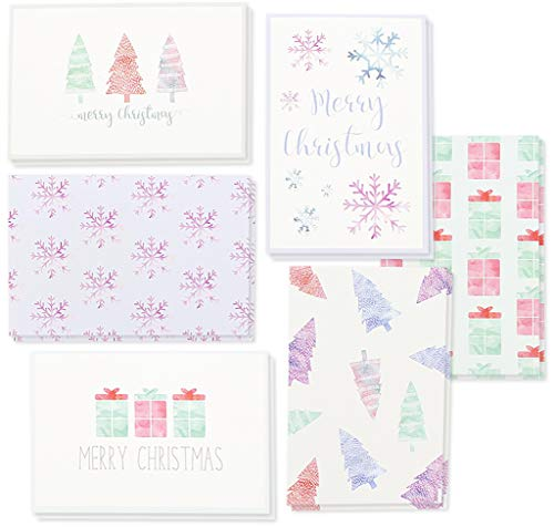 Winter Holiday Greeting Cards - 6 Assorted Christmas Greetings with Christmas Trees, Snowflakes, Gift Boxes, Merry Christmas, Envelope Included - 48 Pack