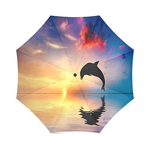 Sunset with Dolphin Jumping Folding Windproof outdoor Travel Umbrella for Women