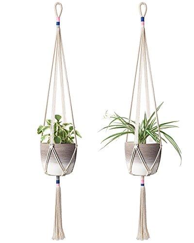 Mkono 2Pcs Macrame Plant Hanger Hanging Planter Color Basket Cotton Rope, 43 Inch by Mkono