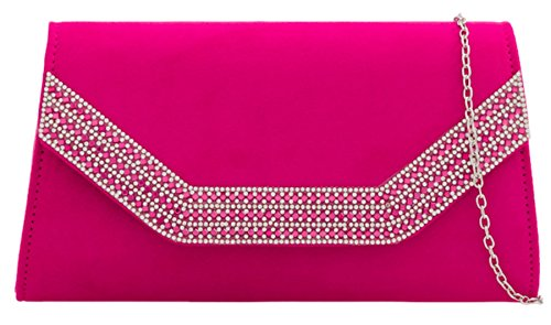 HandBags Bag Girly Diamante Girly Clutch Fuchsia HandBags Frame BwwqaRE7x