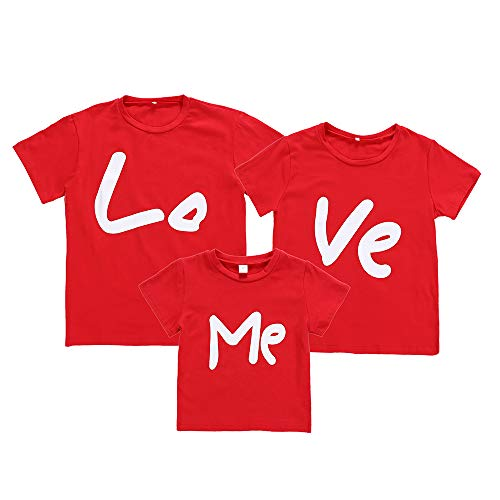 Family Matching T-Shirt Men Women Kids Letter Print Love ME Couple Pullover Blouse Tops Clothes for Birthday Wedding (Mom-Ve, XL) -