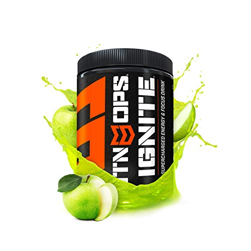 - MTN OPS Ignite Supercharged Energy Drink Mix 45-Serving Tub, Green Apple
