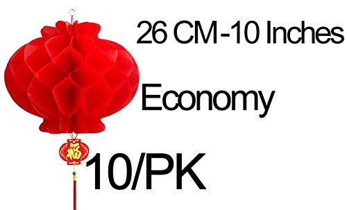 MasterChinese-10Pk-10-Inches-Chinese-Spring-Festival-Wedding-Red-Paper-Lantern-Economy
