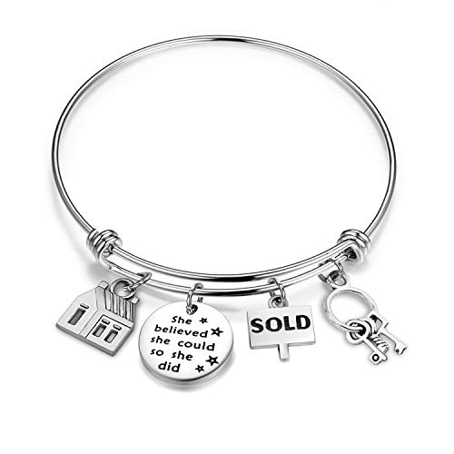 CHOROY Real Estate Agent Charm Bangle Realtor Jewelry Gift She Believed She Could New Home Gift (Realtor Bracelet) -