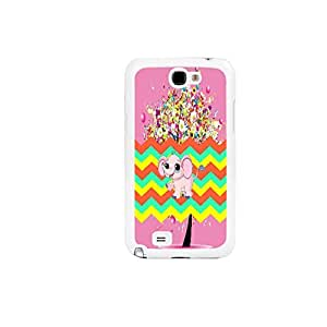 Cute Elephant Snap on Colorful Chevrons Design Girls Hard Back Case Cover for Samsung Galaxy Note 2 N7100 Unique Plastic Cell Phone Skin