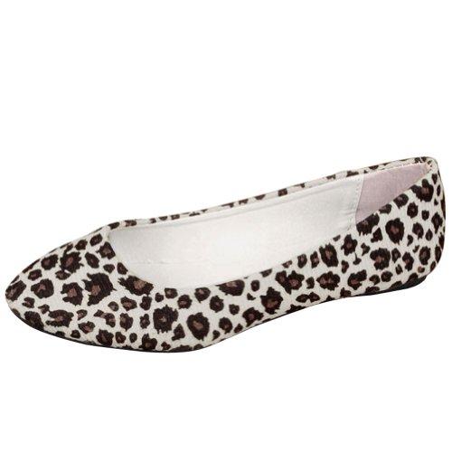 FUNOC Womens Leopard Print Ballet Ballerina Flat Pump Ballet Dolly Shoes