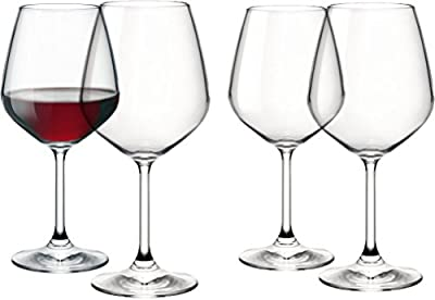 Paksh Novelty Italian Red Wine Glasses - 18 Ounce - Lead Free - Wine Glass Clear