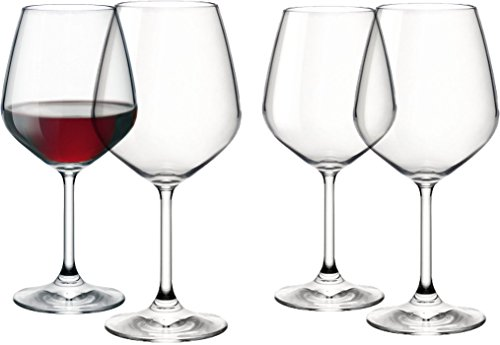Paksh Novelty Italian Red Wine Glasses - 18 Ounce - Lead Free - Shatter Resistant - Wine Glass Set of 4, Clear (Red And White Wine Glasses compare prices)
