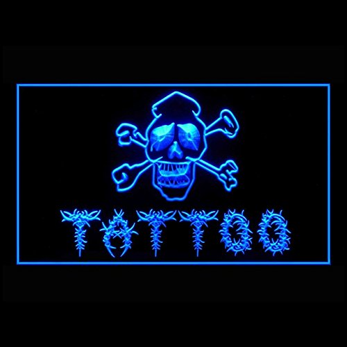 100024 Tattoo Shop Skull Death Miami Ink Display LED Light Sign by Easesign