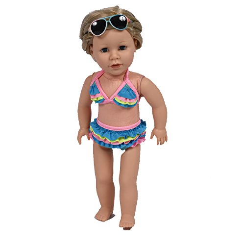 (The New York Doll Collection Summer Holiday Beach Party Bikini Swim Set with Multiple Color Style Fit for 18 Inch Dolls)
