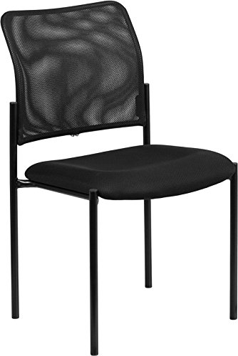 Black Mesh Comfortable Stackable Guest Side Chair - Reception Office Chair by Belnick
