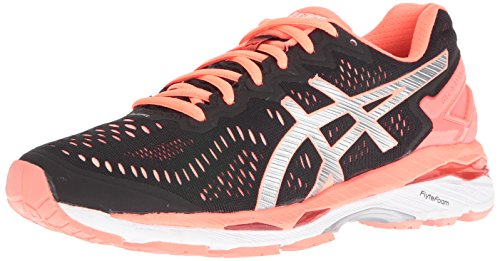 ASICS Women's Gel-Kayano 23 Track Shoe, Black/Silver/Flash Coral, 9 M US