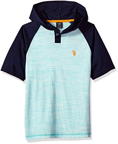 Island Kids Hoodie - U.S. Polo Assn. Boys' Little Short Sleeve Jersey Hoodie, Colorblocked Melange Popover Henley Island Jade, 7