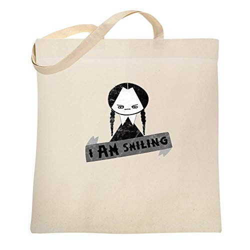 (I AM Smiling Funny Goth Natural 15x15 inches Canvas Tote Bag)