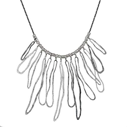 PZ Paz Creations .925 Sterling Silver Collar Bib Statment Necklace