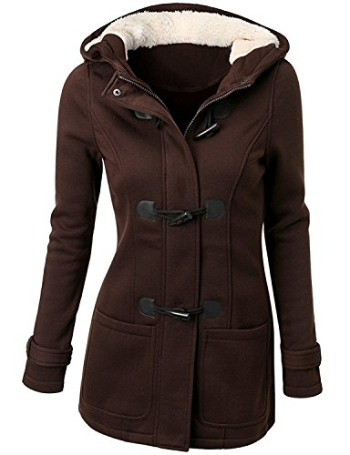 Xy Litol New Fashion Women's Winter Warm Hooded Pea Coat Jacket Coffee XL (Winter Pea Coats For Women)